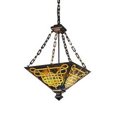 See the Meyda Tiffany 47583 Knotwork Mission Inverted Pendant in Mahogany Bronze finish. Find luxury home lighting online. Tiffany Art, Tiffany Lamps, Lantern Pendant, Pendant Lighting, Stained Glass Lamps, Victorian Art, Globe Lights, One Light, Bronze Finish
