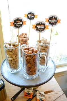 snacks in beer glasses 40th Birthday Quotes, 50th Birthday Gag Gifts, Birthday Cheers, 30th Birthday, Birthday Images, Birthday Greetings, Beer Tasting Birthday, Beer Tasting Parties, Birthday Party Snacks