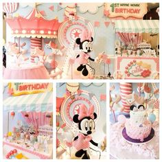 """DECORATION: Adorable Minnie Candy Shoppe party - (bad link, but good image anyway) - I particularly love the awning, """"1st Birthday"""" sign, and my numero uno love is the CAROUSEL popping out of the side of the wall!#(*$%&#$T"""
