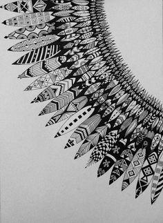 Zentangle Drawings, Doodles Zentangles, Zentangle Patterns, Doodle Drawings, Doodle Art, Mandala Art Lesson, Mandala Drawing, Henna Feather, Sharpie Art