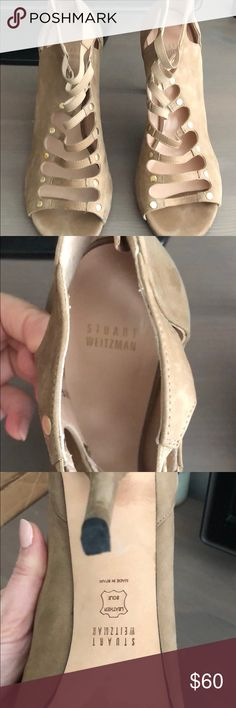 Stuart Weitzman suede Bootie tan shoes 10