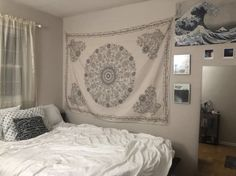This white bohemian style tapestry is named the Ghost because of its soft whites and grey's, and delicate patterns. It would pair best with white or neutral colored walls. Get this tapestry today! Bohemian Tapestry, Mandala Tapestry, White Bohemian, Bohemian Style, Iron Sheet, Tapestry Bedroom, Family Wall, Bedroom Styles, Wall Colors