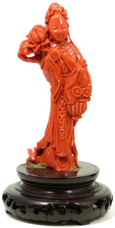 CHINESE HAND CARVED RED CORAL MAIDEN RABBIT FIGURE