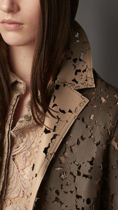 Bonded Leather Laser-Cut Lace Caban | Burberry