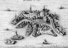 Danckerts, the city of Venise (detail of the island of Murano where the mercury mirrors were first made), circa 1600, engraving.