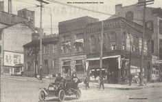 Corner of Broadway and Market Streets in Alton, 1914. Directly on the corner was the Threde Pharmacy.