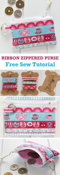 Ribbon Zippered Purse Tutorial   http://www.free-tutorial.net/2017/10/ribbon-zippered-purse-tutorial.html