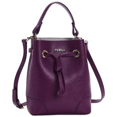 Pre-owned Furla Stacy Drawstring Mini Aubergine Cross Body Bag (190 CAD) ❤ liked on Polyvore featuring bags, handbags, shoulder bags, aubergine, leather crossbody, mini crossbody purse, purple leather purse, crossbody shoulder bags and leather crossbody purse