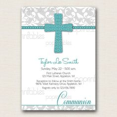 Baptism or First Communion Invitation Damask Grey Turquoise - DIY PRINTABLE. $12.00, via Etsy.