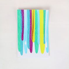 DIY art project idea - colorful paint scrape notecards