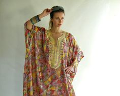 Vintage 60s 70s Caftan Maxi Dress Gold Embroidery by empressjade, $185.00