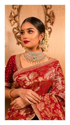 Modern classic hot hot red saree for parties. For order whatsapp us on wedding outfits wedding dress wedding dresses lengha lehnga sabyasachi manish malhotra Bengali Bridal Makeup, Indian Bridal Sarees, Indian Bridal Outfits, Indian Bridal Fashion, Indian Bridal Wear, Indian Designer Outfits, Bridal Sari, Red Saree Wedding, Maroon Wedding
