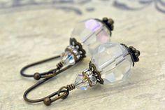 Oorbellen in vintage stijl met doorschijnende glaskralen