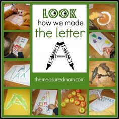 Ways to Make the Letter A from Chuah Measured Mom Preschool Literacy, Kindergarten Crafts, Preschool Worksheets, Literacy Activities, Abc Crafts, Alphabet Crafts, Alphabet Activities, Activities For Kids, Creative Teaching