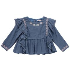 Unique Austin boutique specializing in luxury children's clothing, home goods, and personalized gifts for every occasion. Cool Kids Clothes, Baby Kids Clothes, Little Fashion, Fashion Kids, Embroidered Denim Shirt, Louise Misha, Baby Boutique Clothing, Baby Poses, Girl Outfits