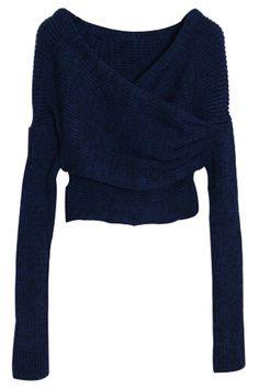 Cute Long-Sleeves Surplice Crop Knit Sweater