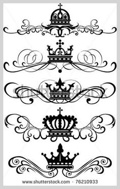Vector set Decorative Dividers Victorian Scrolls and crown Vintage