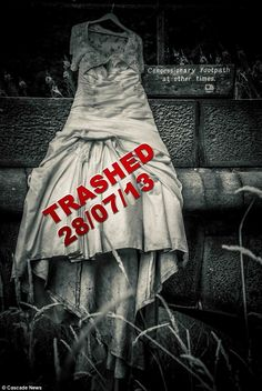 Rachael, from Blackburn, Lancashire, chose to trash her dress at Roddlesworth Reservoir,