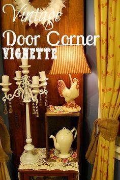 Vintage Door Corner Vignette