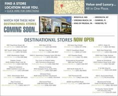 Check out our DestinationXL stores now open!