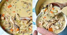 Recept na krémovou polévku s kuřecím masem a žampiony Cheeseburger Chowder, Hummus, Oatmeal, Meat, Chicken, Cooking, Breakfast, Ethnic Recipes, Soups