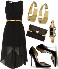Black dress gold shoes quotes