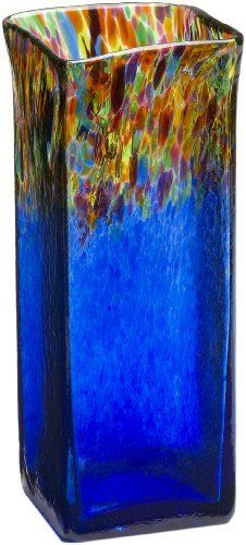 Kitras Large Square Vase, Multi/Blue by Kitras Art Glass. $81.75. Handcrafted. Recycled Glass. Unique Gift. Made from only the finest hand-blown glass, our sophisticated, yet eclectic new line of accent vases is the showcase of the Kitras Collection. The smooth lines, and vibrant colors make it a versatile piece suitable for any home decor. As a celebration of life, or as a personal purchase, this eclectic, yet sophisticated collection will be treasured always. Signed and dated w...