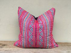 "Vintage Cotton Tribal Hand Print Patch Work Pillow Case 20"" x 20"" Pieces Of…"
