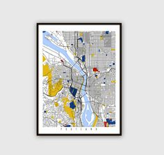Portland Map Art Print / Street Map Art    This Map of Portlandi is part of my design collection inspired by Artist Piet Mondrians Composition