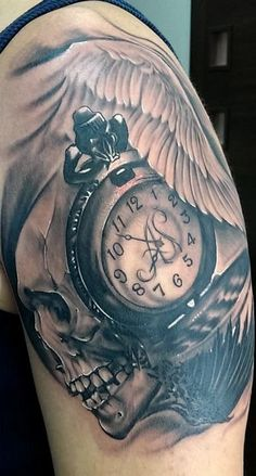 Tattoo by Igor Igoryoshi, guardian angel wing, pocket watch, skull,  The time when my lovely daughter was born. - womens watch, womens wrist watches, pink watch *sponsored https://www.pinterest.com/watches_watch/ https://www.pinterest.com/explore/watches/ https://www.pinterest.com/watches_watch/ladies-watches/ https://www.groupon.com/goods/watches