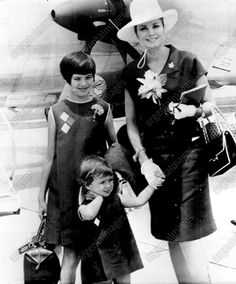 An original press photo from 1967 featuring Grace of Monaco with her daughers Caroline and Stephanie.
