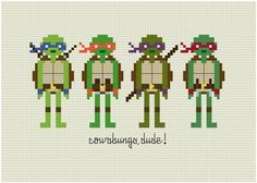 TMNT cross stitch // this is great. It reminds me of Christmas with my brother and the cool TMNT toys we would get!