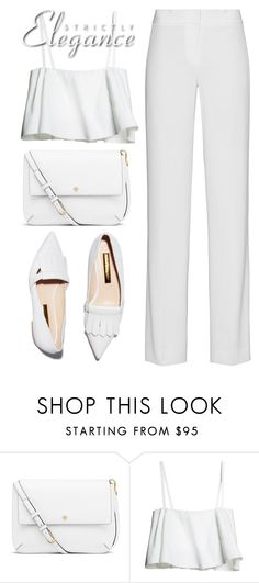 """""""White on white"""" by pisces7 ❤ liked on Polyvore featuring Rupert Sanderson, Tory Burch, DKNY, white, ootd and WhiteOnWhite"""