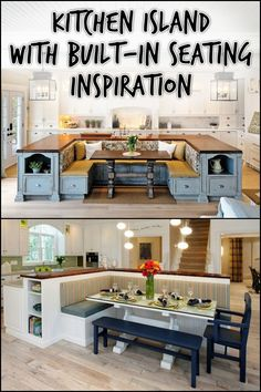 Kitchen island with built-in seating! It does require a good amount of space, but it's a clever design for several reasons. Read more about this design and get inspiration by heading over to our site now!
