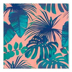 "Gallery Direct ""Tropical Leaves"" by Berry2046 Graphic Art Size: 18"" H x 18"" W"