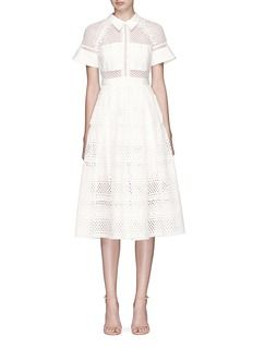 self-portrait | Mesh lace broderie anglaise pleated dress | Lane Crawford - Shop Designer Brands Online