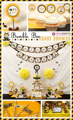 Bumble Bee Baby Shower Package Personalized MINI Collection Set - PRINTABLE DIY - BS816CB1y