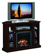 46'' Bancroft Antique Cherry Entertainment Center Electric Fireplace. The Bancroft Antique Cherry Entertainment Center Electric Fireplace has multifunction practicality sitting flush against any wall or corner application. Large 46'' mantle solidly holds most flat screen TVs on the market. Center media shelf has room for any cable receiver, DVD/Blu-Ray player, or game console and keeps wires in check with integrated wire management channels. Designed with a beveled base, and side framed…