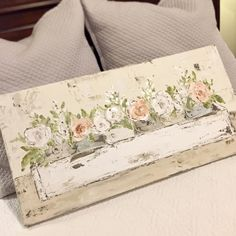 Flower Drawing Spring Planter Box Flowers, Floral Painting, Planter Box Arrangement, Floral art by Haley Bush - Farmhouse Paintings, Spring Painting, Plant Drawing, Floral Wall Art, Diy Artwork, Painting Inspiration, Wood Art, Flower Art, Canvas Wall Art