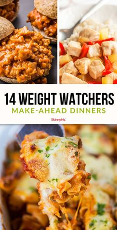 What's for dinner? Take the stress out of that inevitable question by adding these make-ahead dinners to your Weight Watchers menu plan. Weight Watchers Freezer Meals, Weight Watchers Meal Plans, Healthy Freezer Meals, Make Ahead Meals, Frugal Meals, Clean Eating Recipes, Healthy Dinner Recipes, Healthy Snacks, Healthy Eating