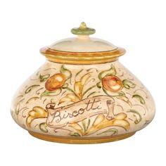 The Affresco Biscotti Jar's handpainted design is reminiscent of elegant washed frescoes found in Italian villas for centuries.