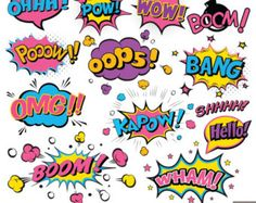 Digital-Comic-Text Clipart, Superheld-Text Clipart, Superheld-Pop-Art-Text und Blasen Clipart - Mothesfloriane - Pctr UP Superhero Costumes For Boys, Superhero Pop Art, Superhero Texts, Superhero Party, Superhero Characters, Fiesta Pop Art, Superman Clipart, Pop Art Party, Comic Text