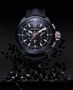 Jaeger-LeCoultre Master Compressor Chronograph Ceramic, relógio masculino esportivo, com mostrador preto fosco, caixa de cerâmica e calibre automático 757, de fabricação própria. Modelo reservado a 500 unidades com 65 horas de reserva de energia.