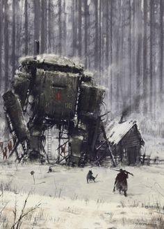 ::equipment from a former age, left to rust and molder::    ArtStation - 1920 - retired veteran, Jakub Rozalski