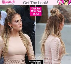 Jennifer Lopez's Half-Up, Half-Down Hairstyle On 'Idol' — Trend To Try Jennifer Lopez tried a trendy new hairstyle on the May 6 episode of 'American Idol' that we're already calling the 'It' hairstyle for summer. Leaving her long, blonde … Messy Bun Hairstyles, Summer Hairstyles, Messy Hairstyles, Straight Hairstyles, Layered Hairstyles, Half Bun Half Down, Half Top Knot, Hair Pictures, Hair Beauty
