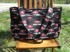 Custom made to order NFL San Francisco 49ers ultimate diaper bag for dads with magnetic snap on Etsy, $60.00