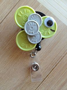 Fish Oogle Eye ID Badge Holder With Retractable Reel - Made From Vial Flip Off Caps (green, gray, grey, white, black)