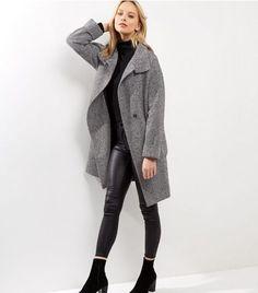 Black Textured Cocoon Longline Coat    New Look