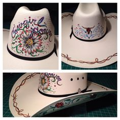 Cowgirl Flower Power. Hand painted for my radiologist :)