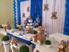 decoração de chá de bebê azul e marrom - Pesquisa Google